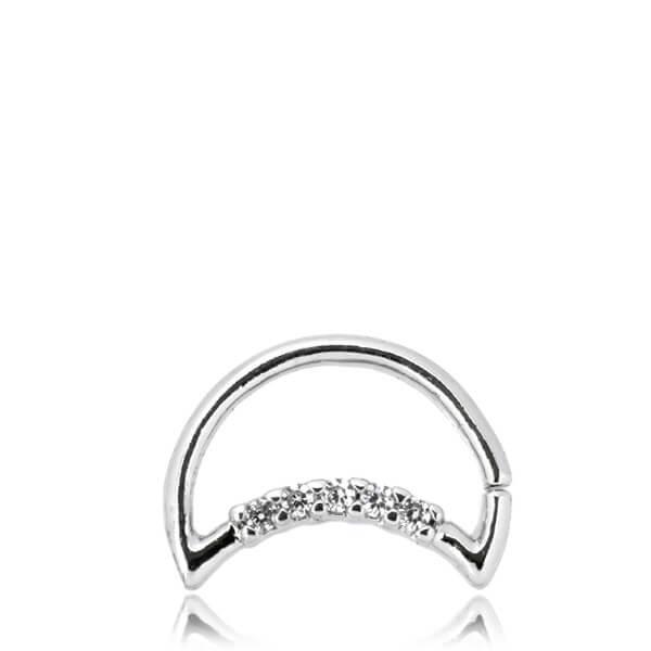 Daith Moon - Piercingsmycke med vita kristaller