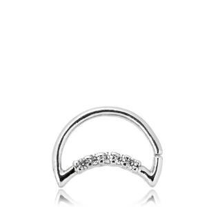 Daith måne - Piercingsmycke med vita kristaller