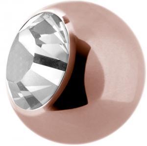 Roséguldig Kula till piercing - Vit Kristall - Kirurgiskt Stål