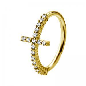 Conch Ring - Clicker ring i Pvd Guld - Kors med Vita Kristaller