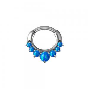 Septum Clicker i kirurgiskt stål, Blå Opalit