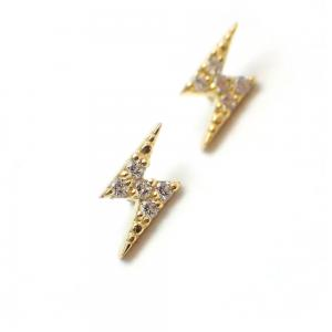 Blixt - 18k Guld - Piercingsmycke - Vita Kristaller