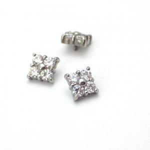 Piercingsmycke - Topp med Vit kristall - Fyrkantig Cluster