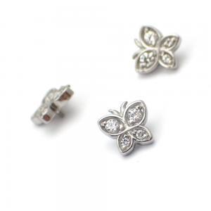 Piercingsmycke - Topp med Vit kristall - Fjäril