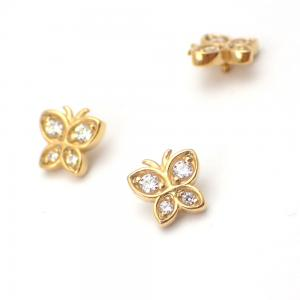 Piercingsmycke - 24k-guld PVD - Vit Swarovski kristall - Fjäril