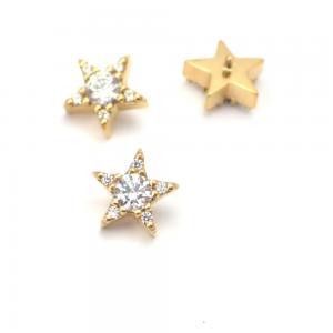Piercingsmycke - 24k-guld PVD  - Vit Swarovski kristall - Stjärna