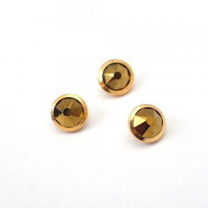 Piercingsmycke - 24k-guld PVD - Platt brungrön kristall