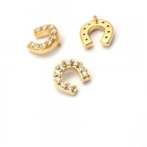 Piercingsmycke - 24k-guld PVD - Vit Swarovski kristall - Hästsko