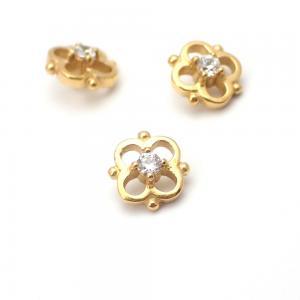 Piercingsmycke - 24k-guld PVD - Vit kristall - Blomma