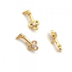 Piercingsmycke - 24k-guld PVD - Vit kristall - Nyckel