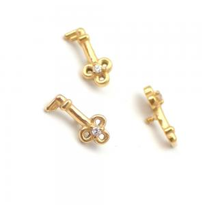 Piercingsmycke - 24k-guld PVD - Vit Swarovski kristall - Nyckel