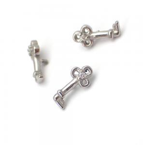Piercingsmycke - Topp med Vit kristall - Nyckel