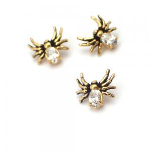 Piercingsmycke - 24k-guld PVD - Vit Swarovski kristall - Spindel