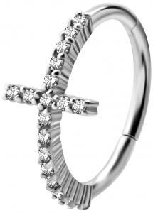 Silvrig Ring - Conch Clicker - Kors med Vita Kristaller