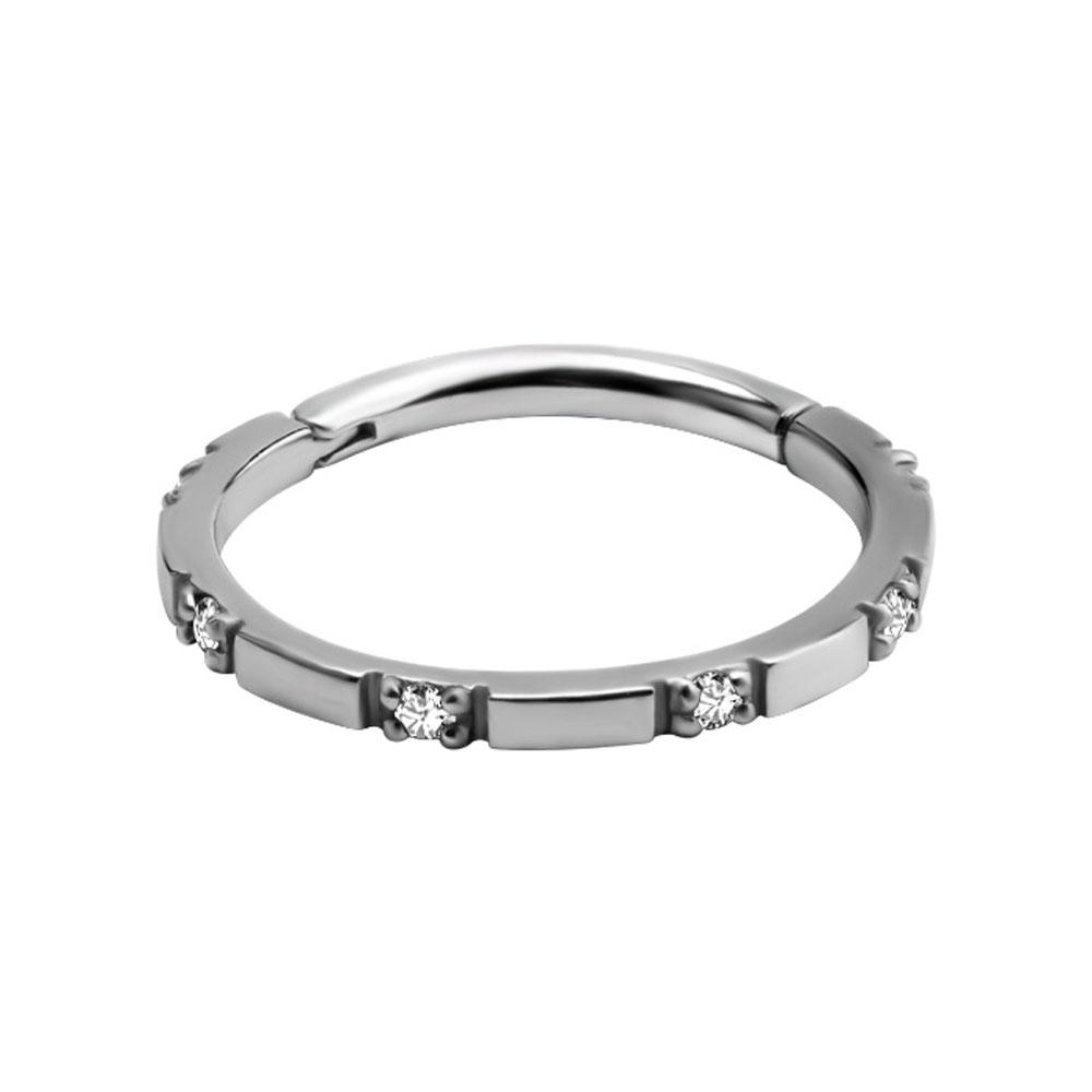 Ring till piercing - Clicker med vita kristaller