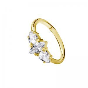 Conch Ring - Clicker ring i Pvd Guld - Vita Kristaller