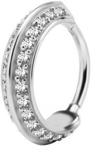 Silvrig Ring - Conch Clicker - Vita Kristaller