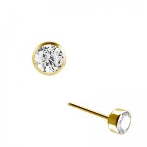 Rund kristall guld - Push fit topp - Threadless piercingsmycke
