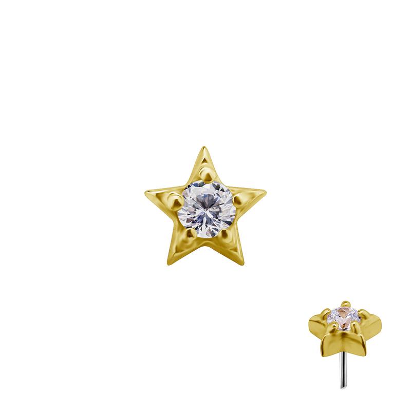 Liten stjärna äkta guld - Push fit topp - Threadless piercingsmycke