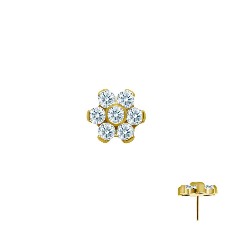 Stjärna med kristaller - Push fit topp - Threadless piercingsmycke - Guld