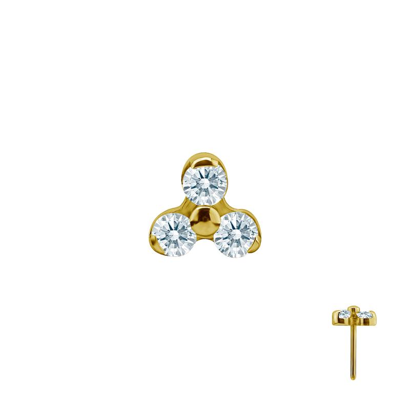 Tre Kristaller guld - Push fit topp - Threadless piercingsmycke - Trinity