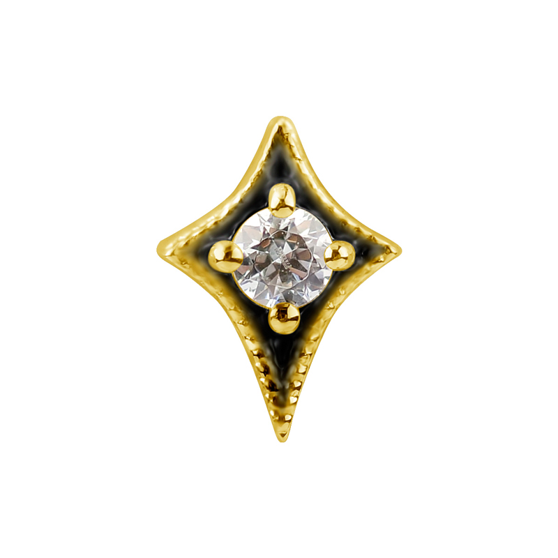 Piercingsmycke - 18k Guld - Geometriskt motiv med vit kristall