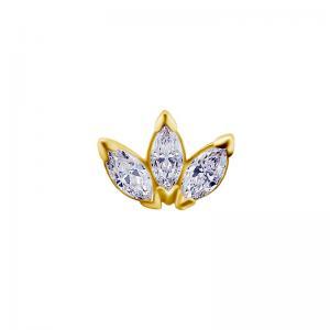 Piercingsmycke - 18k Guld - tre vita kristaller