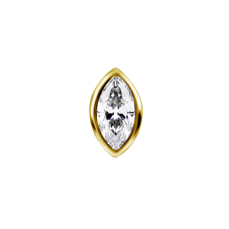 Piercingsmycke - 18k Guld - Oval kristall