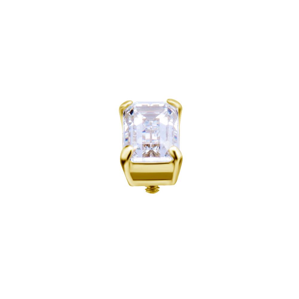 Fyrkantig Kristall - 18k Guld - Piercingsmycke