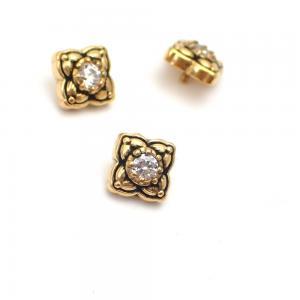 Piercingsmycke - 24k-guld PVD - Vit Swarovski kristall