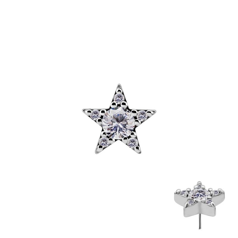Stjärna med kristaller - Push fit topp - Threadless piercingsmycke