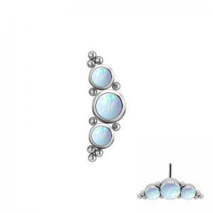 Båge med vita opaliter - Push fit topp - Threadless piercingsmycke