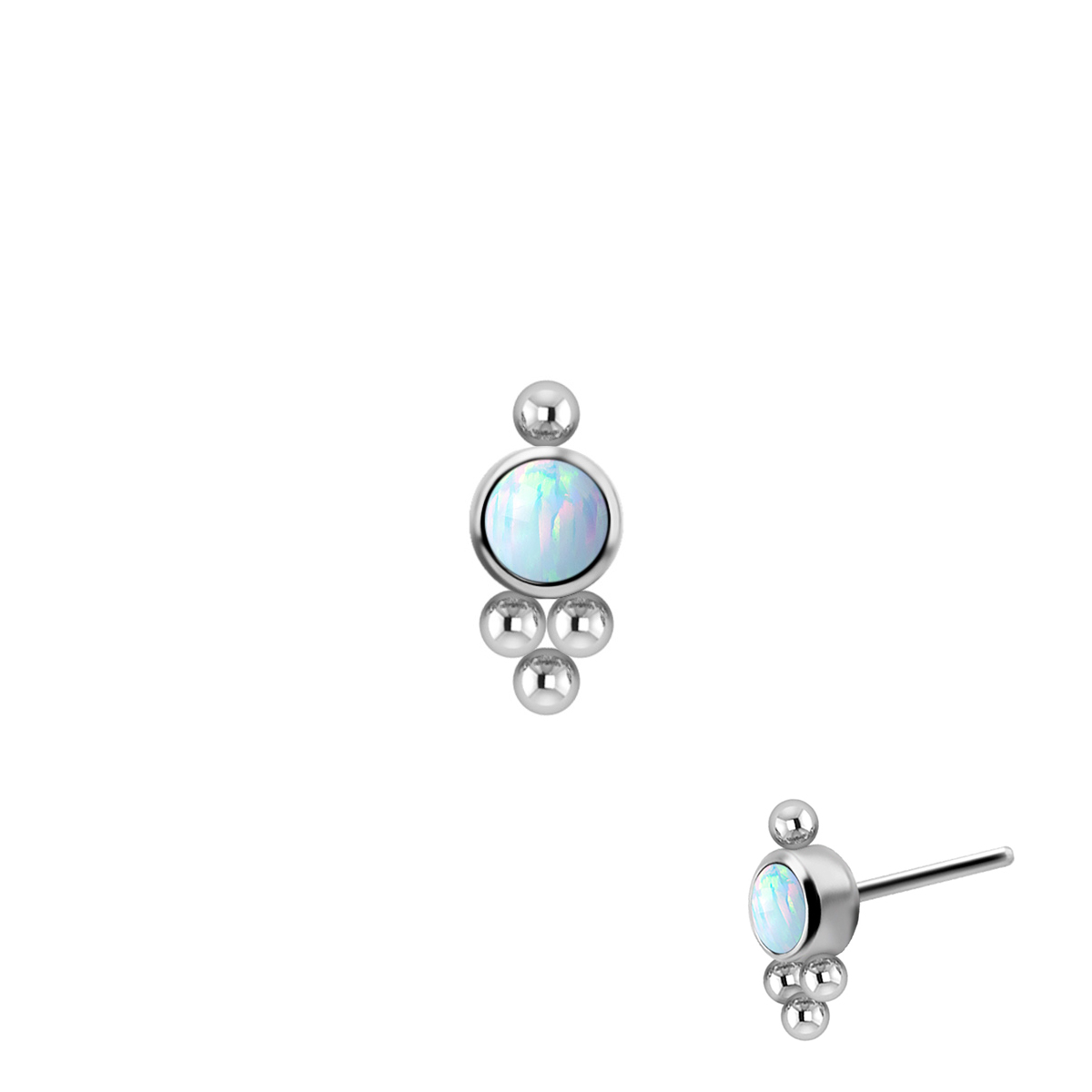 Opalit-topp - Push fit - Threadless piercingsmycke