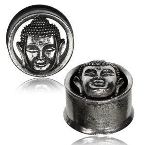 Tunnel/Plugg i Vit Mässing, Buddha