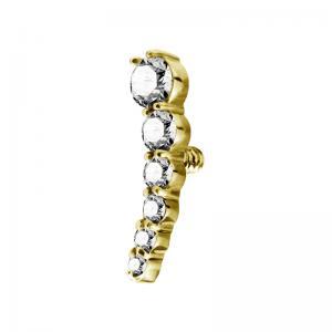 Cluster topp till piercing  - PVD Guld - Vita kristaller