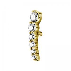 Topp till piercing  - PVD Guld - Båge med Vita kristaller