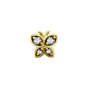 Piercingsmycke - 24k-guld PVD - Vit kristall - Fjäril