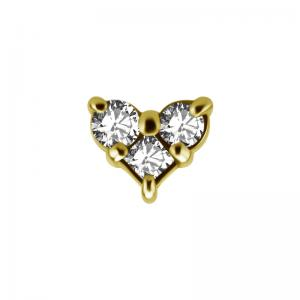 Trinity topp - Piercingsmycke  - PVD Guld - Vita kristaller