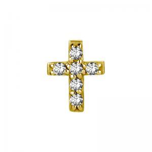 Kors med vita kristaller - Piercingsmycke - Guld