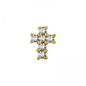 Kors -  topp till piercing - PVD Guld