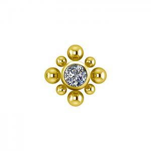 Bali topp - Piercingsmycke  - PVD Guld - Vita kristaller