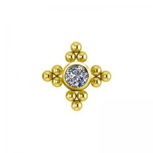 Stjärna topp - Piercingsmycke  -24k-Guld pvd - Vita kristaller