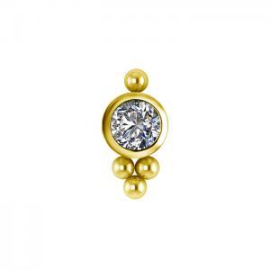 Kristall topp - Piercingsmycke  - PVD Guld - Vita kristaller