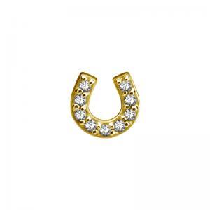 Piercingsmycke - Topp - 24k-guld PVD - Vit kristall - Hästsko