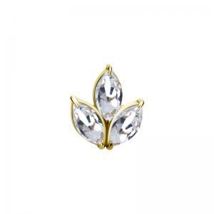 Lotus topp - Piercingsmycke  - PVD Guld - Vita kristaller