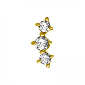 Tre kristaller -  topp till piercing - PVD Guld