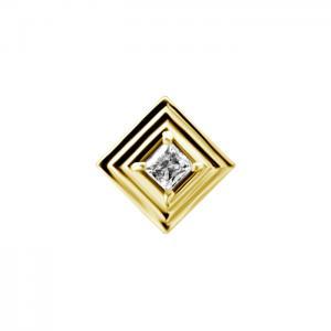 Piercingsmycke - 24k-guld PVD - Vit kristall