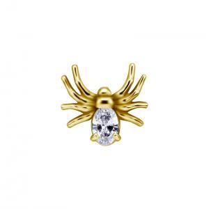 Piercingsmycke - 24k-guld PVD - Vit kristall - Spindel
