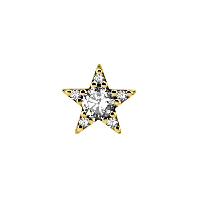 Piercingsmycke - 24k-guld PVD  - Vit kristall - Stjärna