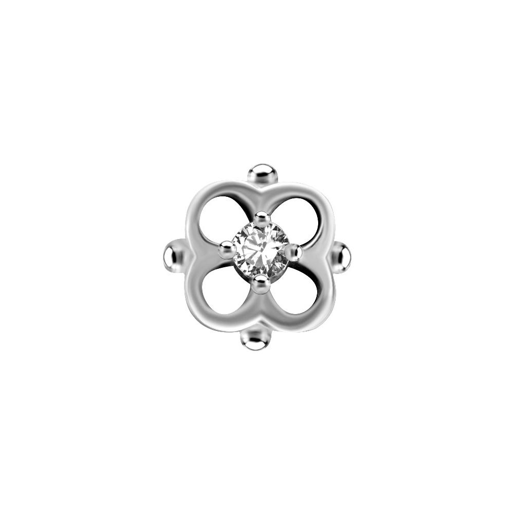 Piercingsmycke - Topp med Vit kristall - Blomma